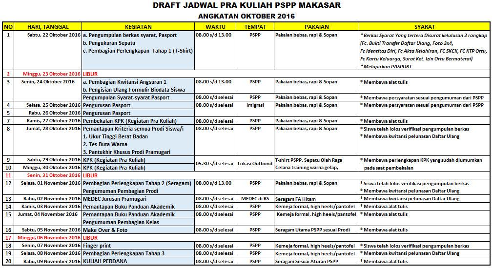 jadwal pra kuliah oktober 2016 PSPP Makassar
